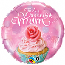 "Wonderful Mum Cupcake Foil Balloon (18"") 1pc"